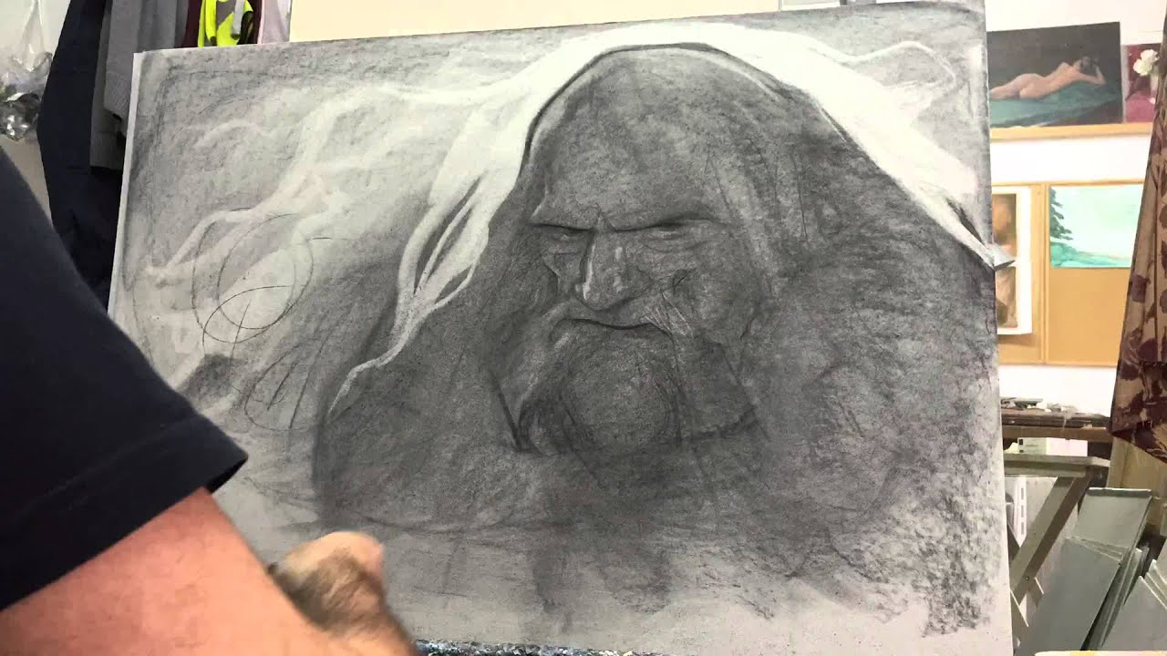 Pj lynch drawing in charcoal timelapse