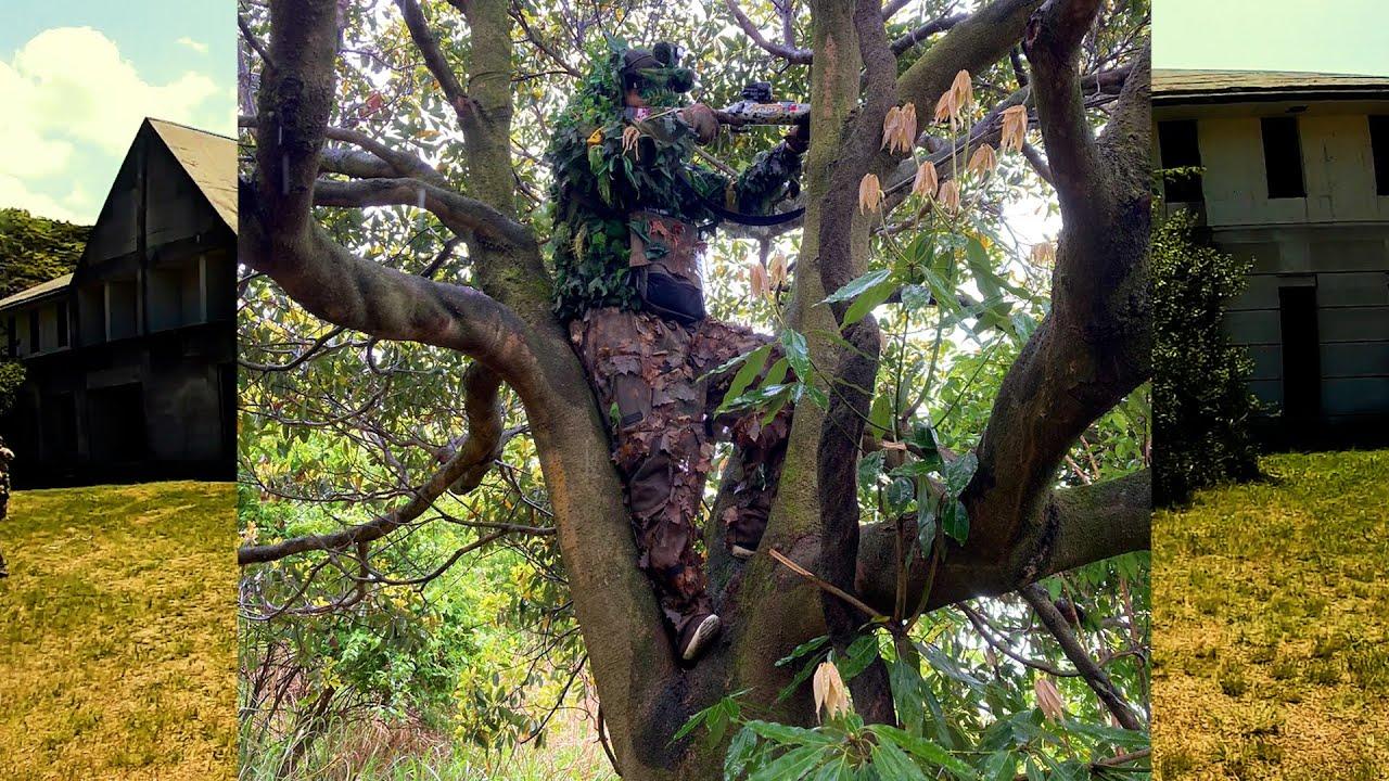 サムネがわかりにくくてごめん ギリースナイパーが木に登り遠距離狙撃を決める動画です