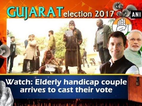 Watch: Elderly handicap couple arrives to cast their vote - Gujarat News
