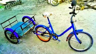 DIY.Quadricycle great 4 wheel bicycle made  from scrap parts