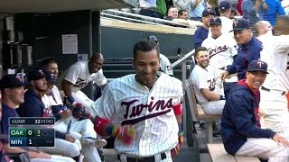 Rosario hits a homer in first career at-bat