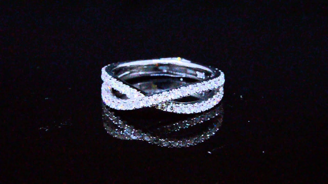 Natural Diamond Criss Cross Wedding Band Hand Crafted In USA