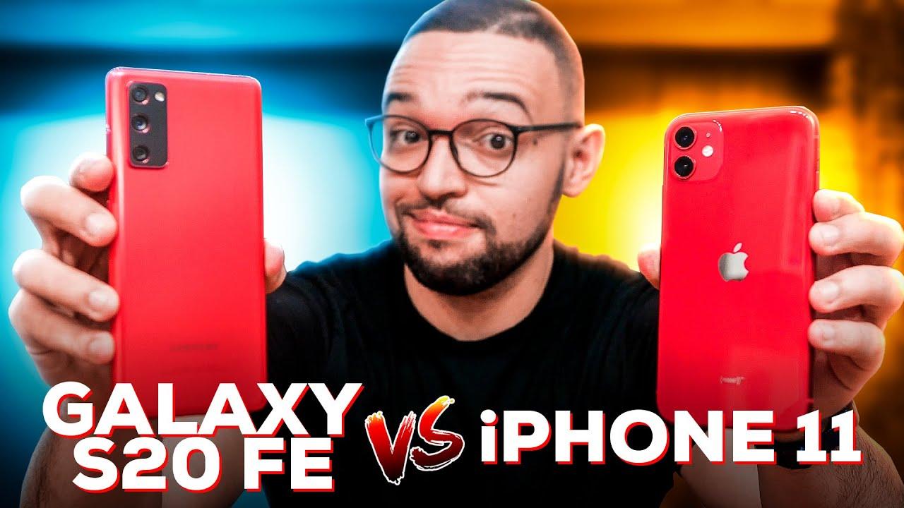 iPHONE 11 vs GALAXY S20 FE   Qual é MELHOR? Comparativo!