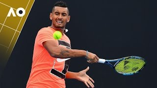 Djokovic, Tomic & Kyrgios getting warmed up for the AO | Australian Open 2017