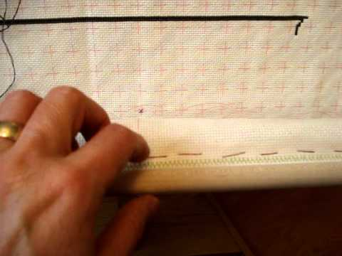 cross stitch help attaching fabric to a scroll frame youtube
