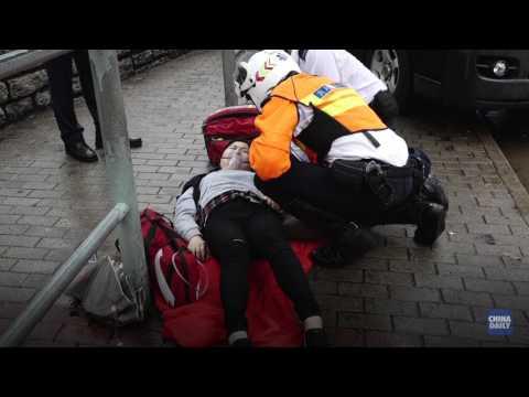 Van hits three women in Tin Wan