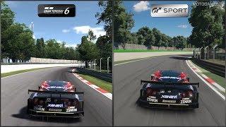 Gran Turismo 6 vs Gran Turismo Sport - Nissan XANAVI NISMO GT-R '08 at Monza (No Chicane)