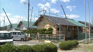 仮設住宅の建設進む 木材は東日本大震災の被災地から 岡山・総社市