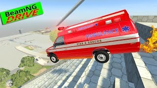 Crazy Vehicle High Speed Jumping 6. Monster Truck, Ambulance - BeamNG drive