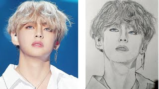 how to draw bts v | easy step by step | bts sketch