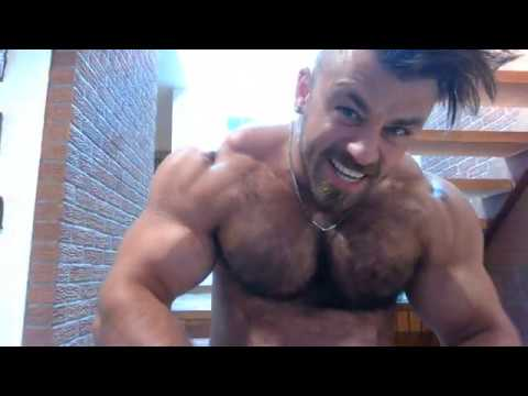 Big Hairy Pecs Flexing Daddy Muscle Bear Muscle Worship Big Biceps Bodybuilder Acting Cocky.