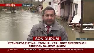 İstanbul'da Ayazağa deresi taştı