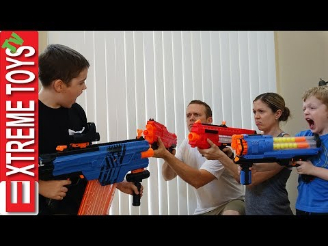 Ultimate Nerf Battle! Part 1. Ethan Attacks Cole, Mom, and Dad with Nerf Blasters!