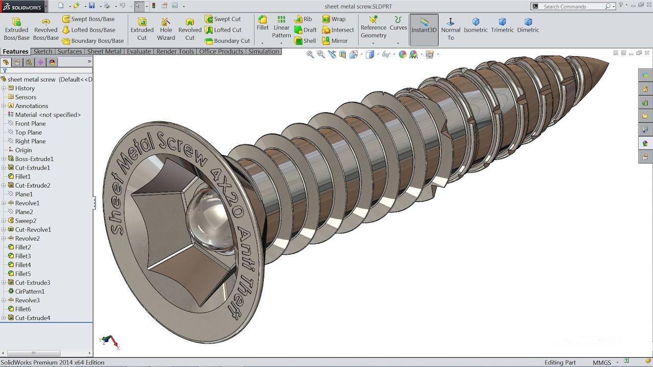 Solidworks Tutorial Sketch Sheet Metal Screw In