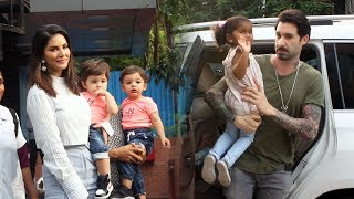 Sunny Leone With Kids & Husband Daniel Weber Spotted At Play School Juhu