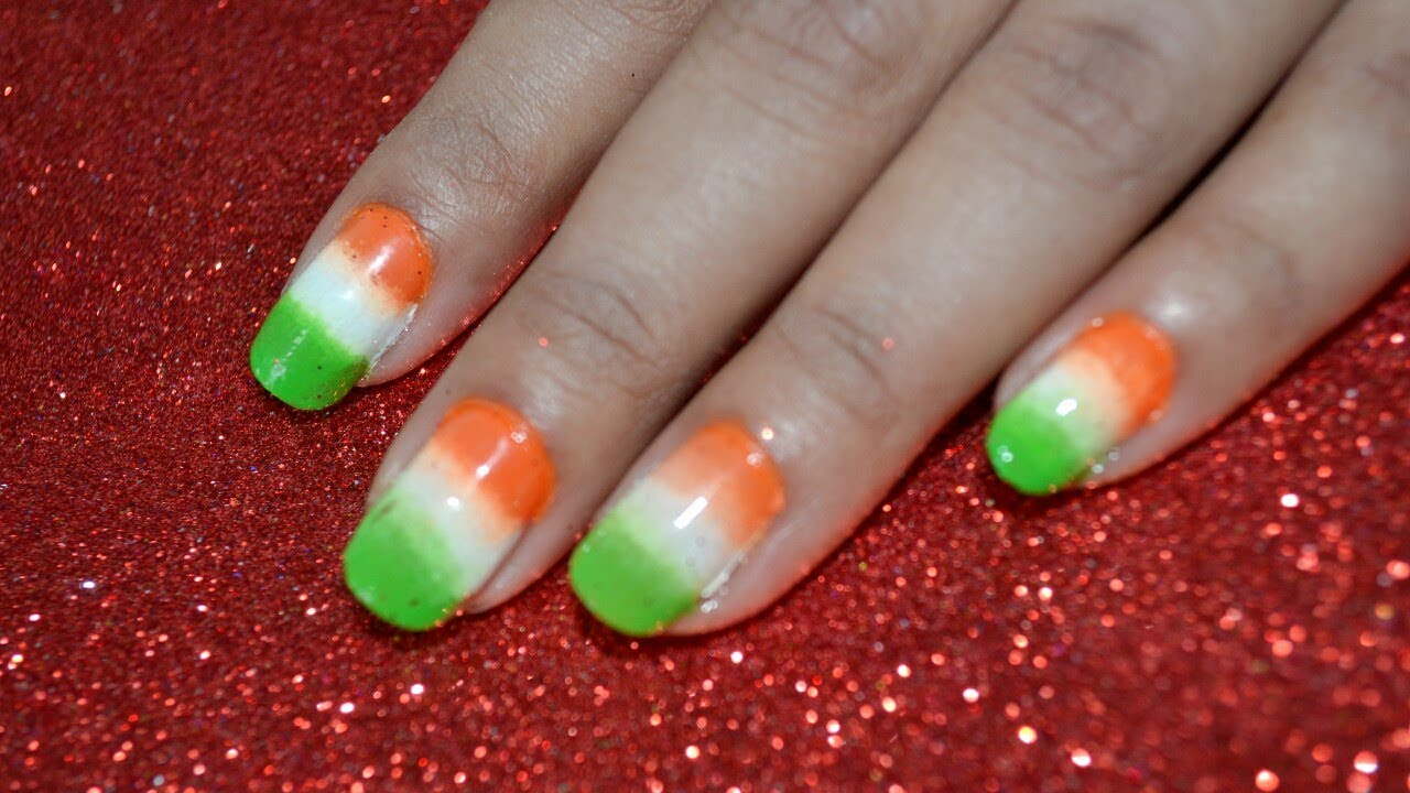 Independence Day Indian Flag Nail Art 15 August Indiannailart