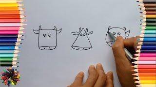 Bé tập vẽ con bò từ hình khối |