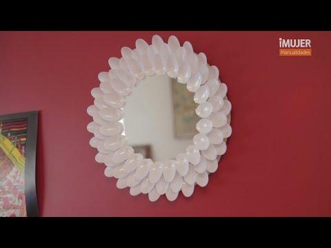 Espejo decorado con cucharas  Cmo decorar un espejo