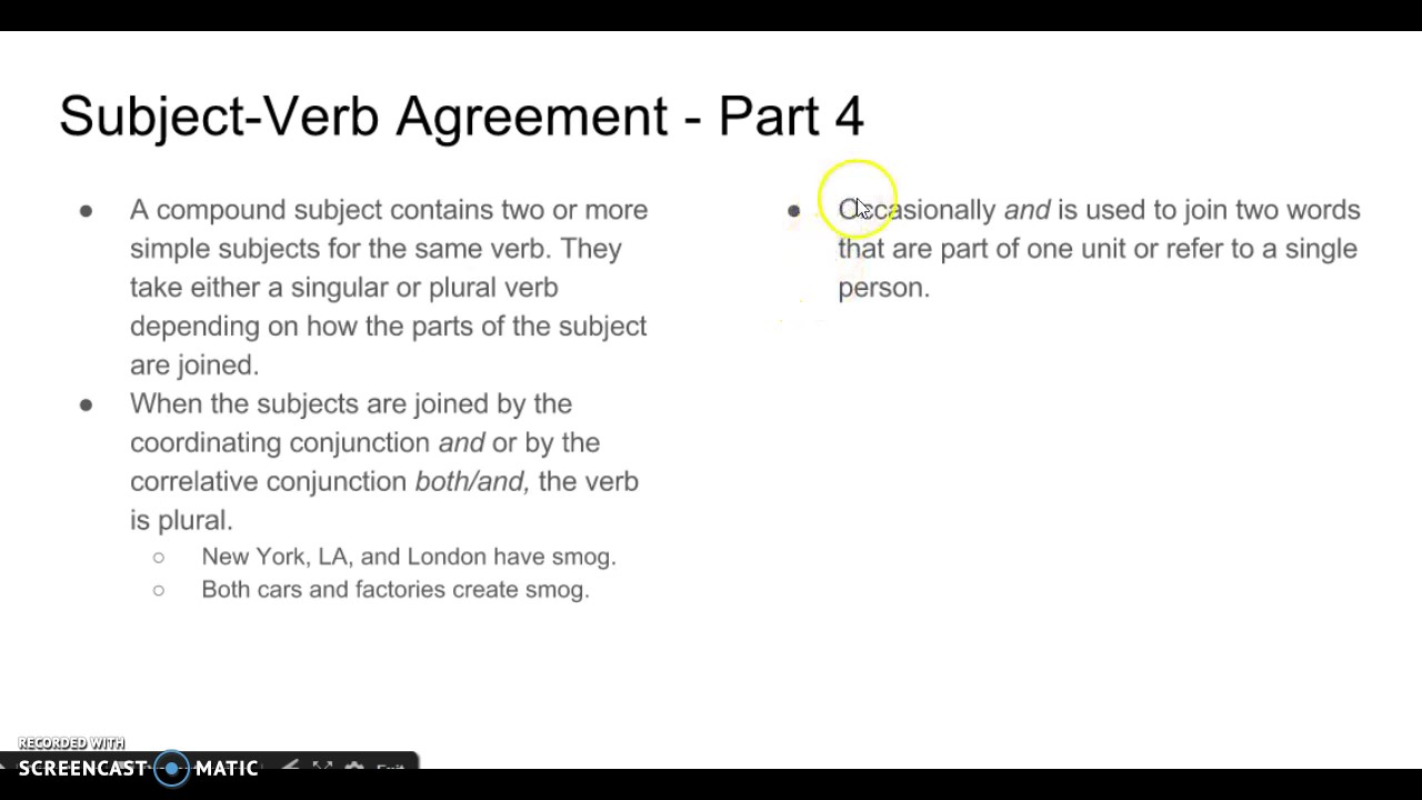 Subject Verb Agreement Part 4 Youtube