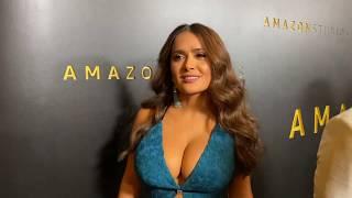 Salma hayek at the golden globes amazon red carpet.