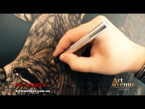 Картины из кожи испанских быков тату мастер Артур Кривой Рог picture on leather