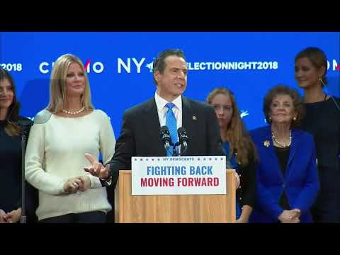 Re-elected New York Gov. Andrew Cuomo applauds his 'progressive state'