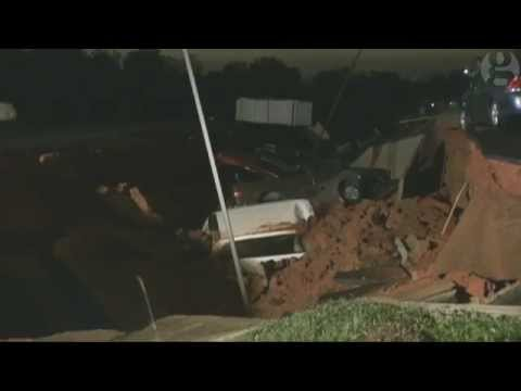 Collapse Of A Restaurant Parking Lot That Created Giant Hole