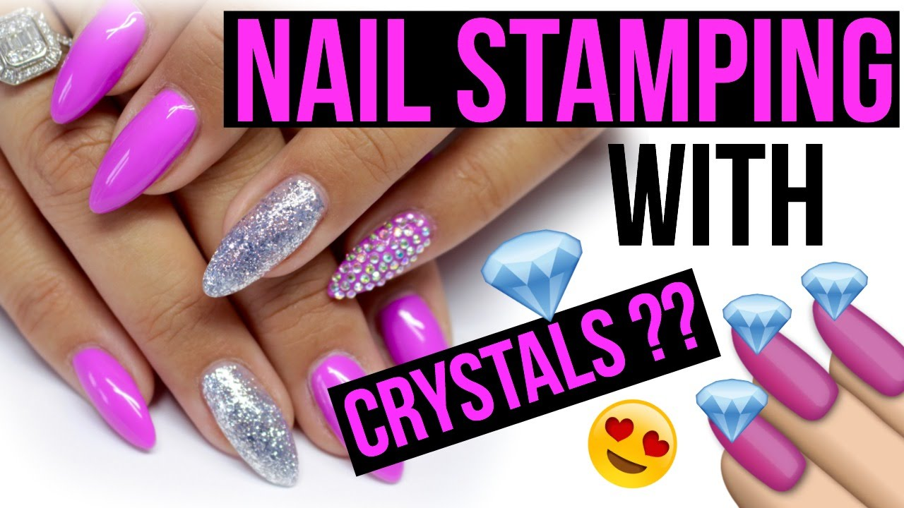PavÉ Crystal Full Nail Stamping Template Kit Tutorial Review Swarovski You