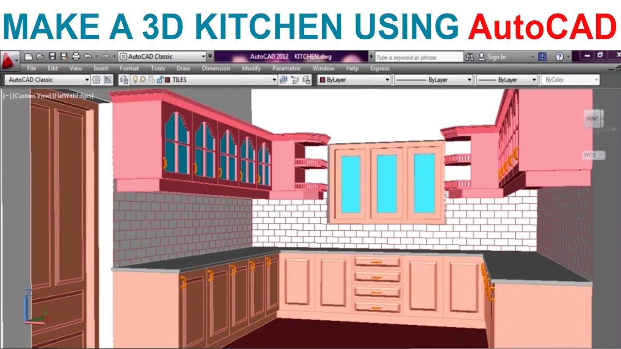 Modeling A Kitchen Using Autocad Part1 Youtube