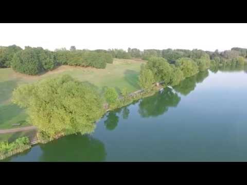 Drone views of Stanborough lakes, Welwyn Garden City, UK.