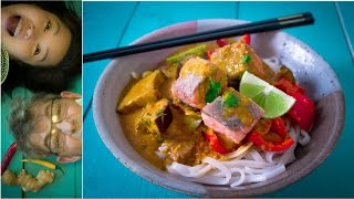 How To Cook Thai Spicy Salmon Rice Noodles /泰国面条食谱/ideos Tailandeses Receta/ไทยก๋วยเตี๋ยวสูตร/