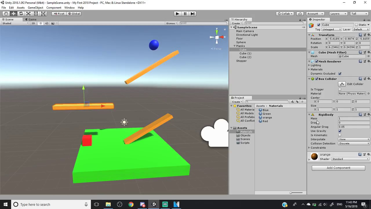 Unity 2018 Tutorial (Part 4) - Rigidbody