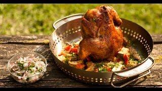 Курица, запечённая целиком с овощами | Лазерсон. Гриль