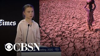 "Greta Thunberg calls for end to all fossil fuel investment ""now"" at Davos forum"