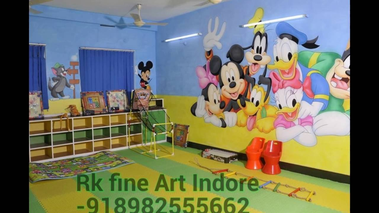 School Wall Painting Indore Con 9039445552 Youtube