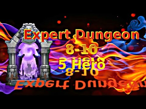 Castle Clash F2P Expert Dungeon 8-10 With 5 Hero