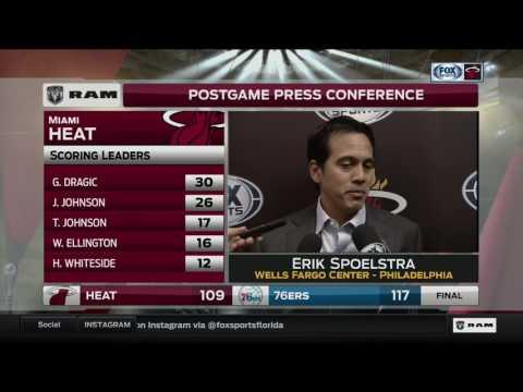Erik Spoelstra -- Miami Heat at Philadelphia 76ers 02/11/2017