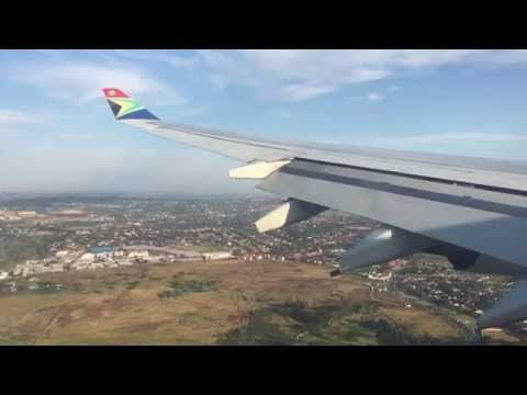South African Airways A340 landing at OR Tambo International Airport in Johannesburg, South Africa