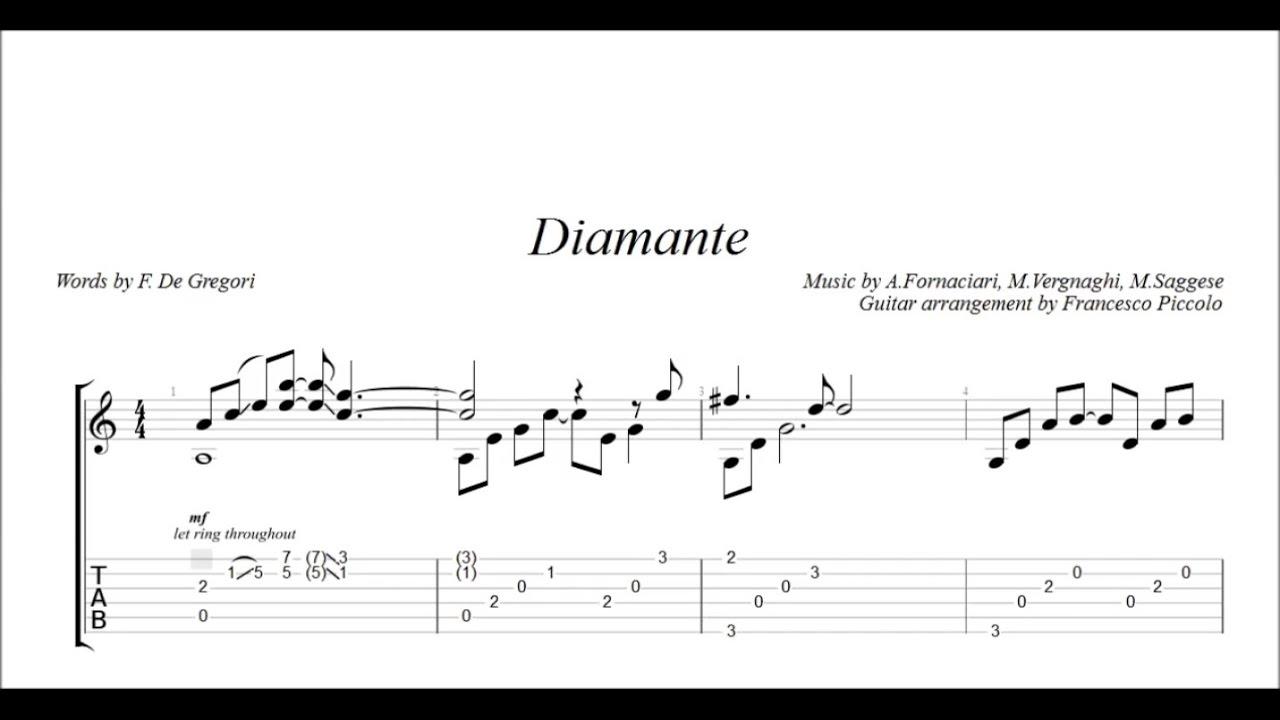 """Fingerstyle Guitar - Zucchero - Diamante (""""Successi ...  Fingerstyle"""