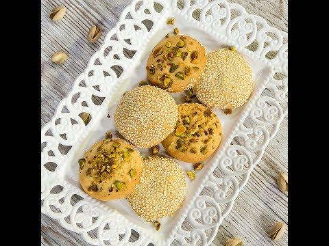 Pistachio and Sesame Vanilla Cookies (Barazek)