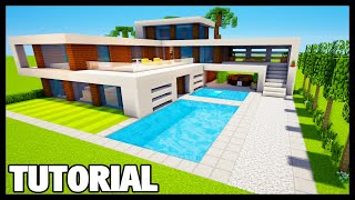 Minecraft: How to Build a Large Modern House/Mansion Tutorial