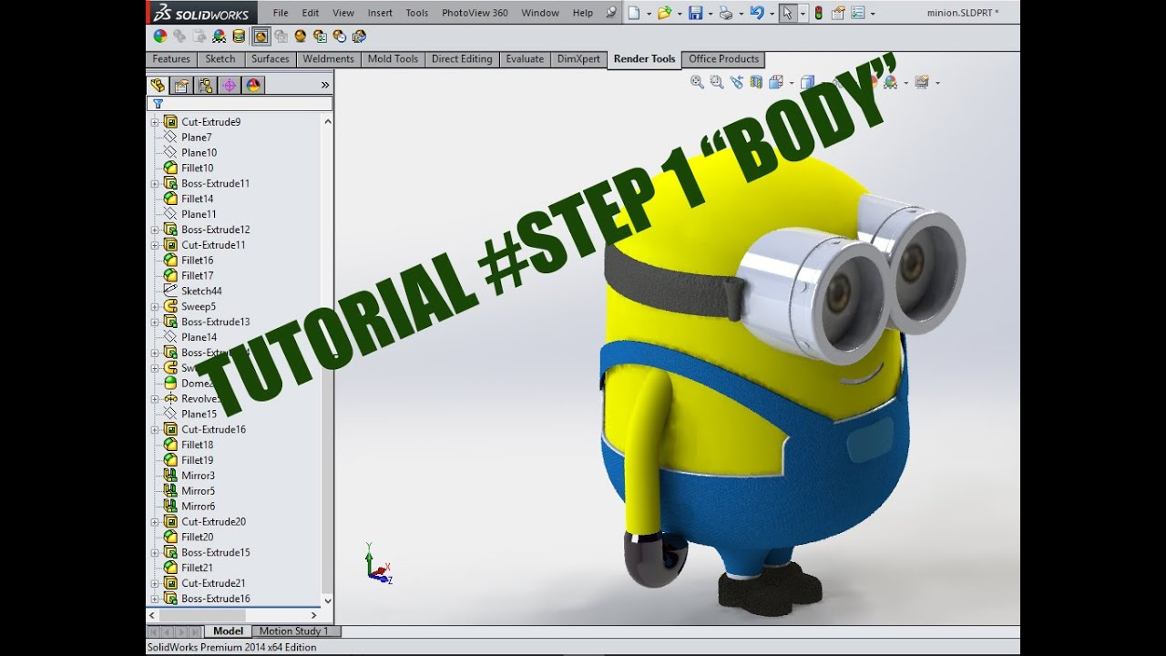 TUTORIAL SOLIDWORK MINION #STEP1