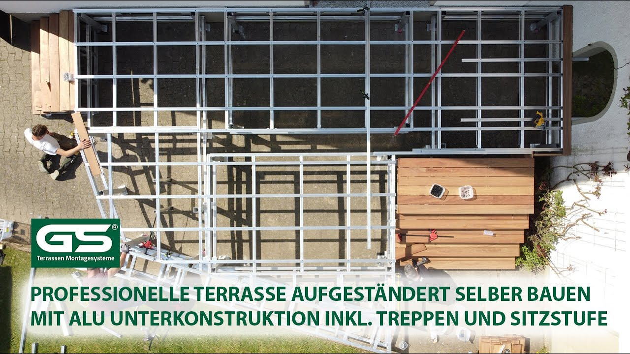 Aufgeständerte Terrasse selber bauen erhöht mit einer Alu Unterkonstruktion