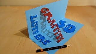 Drawing 3D Graffiti Letters Illusion - Trick Art on Paper - Vamos