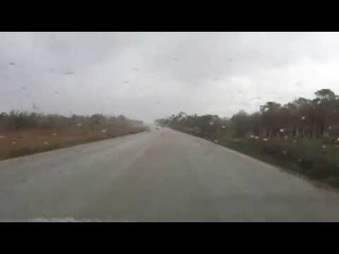 On the road to Alabiar in a rainy day
