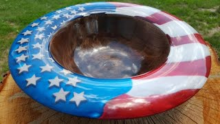 Stars and Stripes  Resin and Walnut Bowl