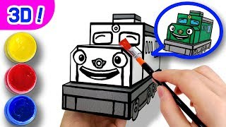3D Coloring Diesel l Coloring Tutorial l Tayo Paper Craft l Titipo Titipo