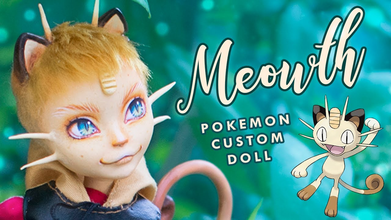 Team Rocket Meowth • Pokemon COLLAB with DollMotion! • Ever After High OOAK Custom Doll Tutorial