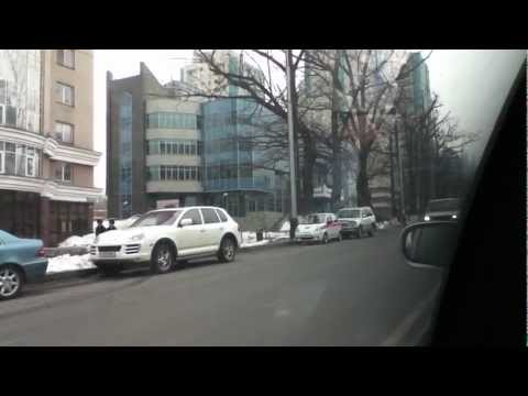 Driving in Almaty, Kazakhstan.