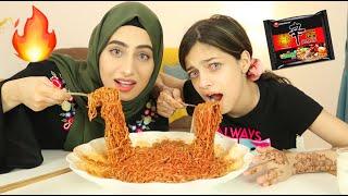 تحدي النودلز الكوري الحار مع ريان !! 🔥| Korean Fire Noodle Challenge 🌶